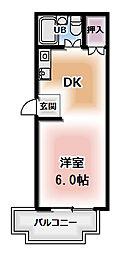コーポグラッド 5階2DKの間取り