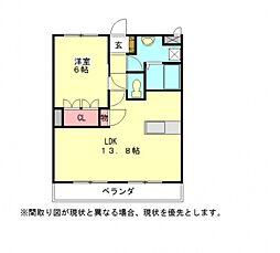 愛知県一宮市時之島字下垂の賃貸アパートの間取り