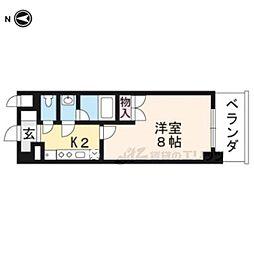京都市営烏丸線 くいな橋駅 徒歩7分の賃貸マンション 4階1Kの間取り
