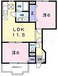 近鉄長野線 滝谷不動駅 徒歩5分の賃貸アパート 1階2LDKの間取り