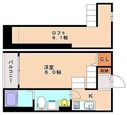 福岡県福岡市南区大橋3丁目の賃貸アパートの間取り