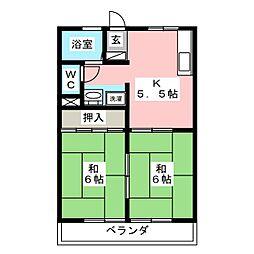 コーポ向山 B棟[1階]の間取り