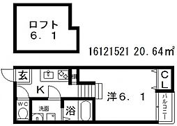 シャイニーサイド[2階]の間取り