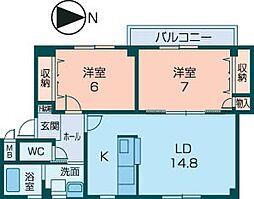 近鉄橿原線 八木西口駅 徒歩17分の賃貸アパート 2階2LDKの間取り