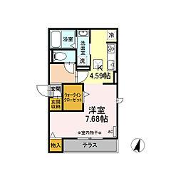 名鉄名古屋本線 加納駅 徒歩5分の賃貸アパート 2階ワンルームの間取り