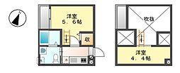 愛知県名古屋市西区稲生町6丁目の賃貸アパートの間取り