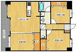 ライオンズマンション六ツ門中央[8階]の間取り