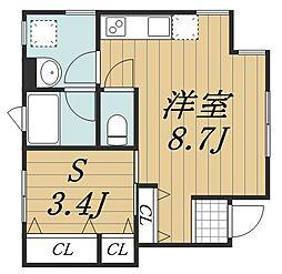 千葉県千葉市中央区長洲1丁目の賃貸アパートの間取り