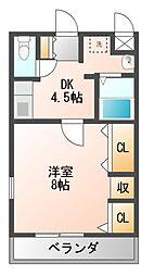 ハートフルOKA[4階]の間取り