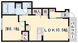 JR播但線 福崎駅 徒歩8分の賃貸アパート 1階1LDKの間取り