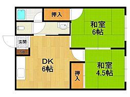 兵庫県伊丹市東野6丁目の賃貸アパートの間取り