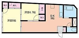 神奈川県横浜市中区福富町仲通の賃貸マンションの間取り