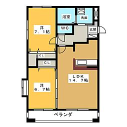愛知県愛西市北一色町北田面の賃貸マンションの間取り