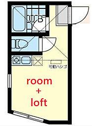 相鉄本線 西横浜駅 徒歩7分の賃貸アパート 1階ワンルームの間取り