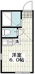 ユナイト南太田サクラメント 2階ワンルームの間取り