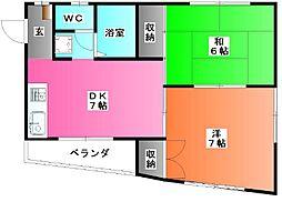 長島ハイツ[2階]の間取り