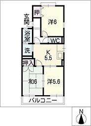 セジュールカニエ[2階]の間取り