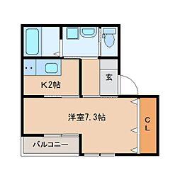 静岡県静岡市清水区草薙の賃貸アパートの間取り