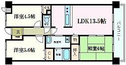 ベルアーバニティ芦屋 3階3LDKの間取り