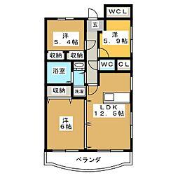 ユーミーグレース[4階]の間取り