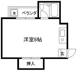 大橋ハイツ[2-C号室]の間取り