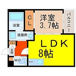 愛知県名古屋市熱田区旗屋2丁目の賃貸アパートの間取り