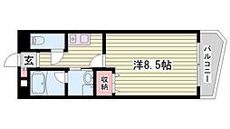 神戸市西神・山手線 伊川谷駅 徒歩9分の賃貸マンション 2階1Kの間取り
