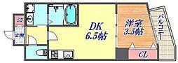 兵庫県神戸市中央区国香通3丁目の賃貸マンションの間取り