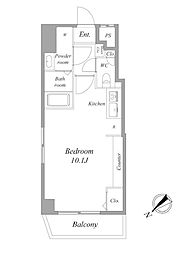 都営浅草線 浅草駅 徒歩8分の賃貸マンション 7階ワンルームの間取り