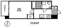 セレニテ三宮プリエ 4階1Kの間取り