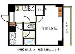 JR宇野線 大元駅 徒歩6分の賃貸マンション 5階1Kの間取り