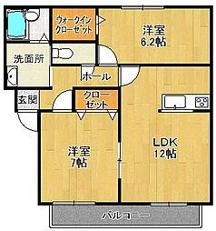 プランドールA棟[1階]の間取り