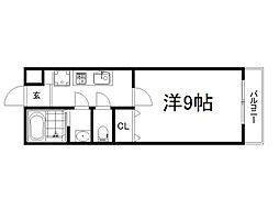 京阪本線 藤森駅 徒歩6分の賃貸マンション 3階1Kの間取り