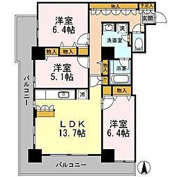 カスタリアタワー長堀橋[1604号室]の間取り