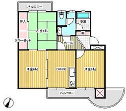 愛媛県今治市北日吉町3丁目の賃貸マンションの間取り