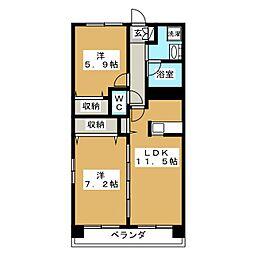 ドエル多賀城[1階]の間取り