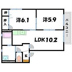 シャトーサンク[2階]の間取り