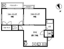 ノア八幡山[2階]の間取り