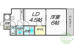 ノルデンタワー新大阪アネックス 9階1LDKの間取り