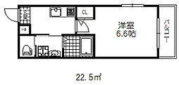 阪急神戸本線 六甲駅 徒歩10分の賃貸マンション 2階1Kの間取り