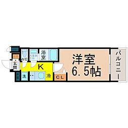 名古屋市営東山線 亀島駅 徒歩4分の賃貸マンション 3階1Kの間取り