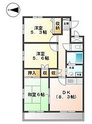 東京都福生市武蔵野台1丁目の賃貸マンションの間取り