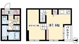 Le Lien Link 2階ワンルームの間取り