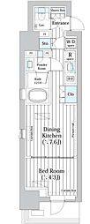 都営浅草線 東銀座駅 徒歩9分の賃貸マンション 2階1DKの間取り