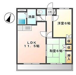 愛知県名古屋市緑区緑花台の賃貸アパートの間取り