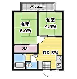 山田ハイツ A 2階2DKの間取り