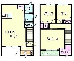 滋賀県大津市日吉台2丁目の賃貸アパートの間取り