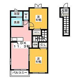 ベル ローズ[2階]の間取り