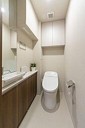 上部吊扉、手洗いカウンター付トイレは洗浄機能付き