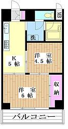 サンビューマンション 8階2Kの間取り